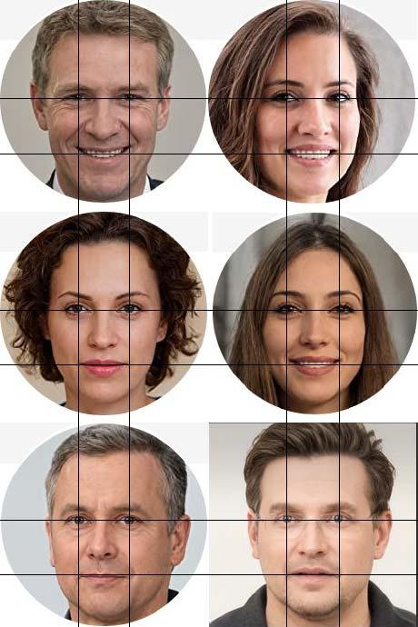 Die Fotos der Pseudonyme des Loewenstein Verlags wirken wie biometrische Passbilder