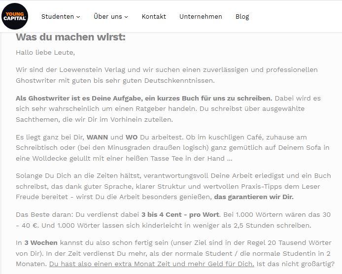 Ghostwriter-Gesuch des Loewenstein-Verlags (Loewenstein Bücher&Medien GmbH; Jetzt: J. Loewenstein Media GmbH)