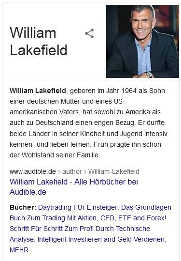 Der Fake-Experte William Lakefield bei Google